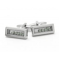 Rhodium-plated cufflinks with movable crystals