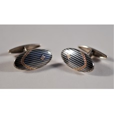 Vintage Russian 800 silver cufflinks, nielloed, 30s-40s, oval, perfect deco