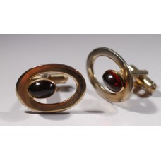 SPEIDEL vintage cufflinks, 1960s, large oval with red lucite cabochon