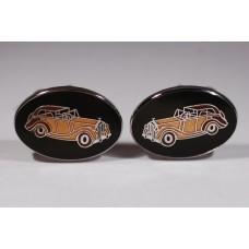 Vintage AVON cufflinks, 1970s, in enamel, with Rolls Royce