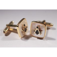 Masonic cufflinks with symbol and G in mother of pearl