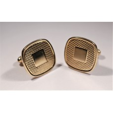 Vintage cufflinks, 1950s, Squares, gold color, with worked surface