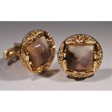 Vintage 1980's cufflinks. Mottled cabochon crystal