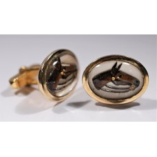 ANSON vintage cufflinks, 1960. Horse head engraved in the crystal