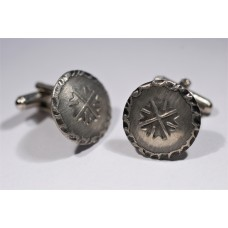 Vintage 70's pewter cufflinks with symbol