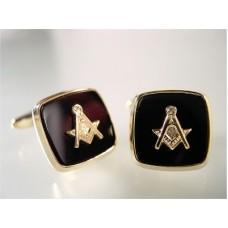 Masonic cufflinks, symbol and onyx