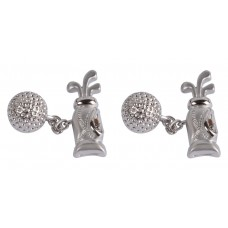 Cufflinks with chain. Bag and golf ball, for golfer