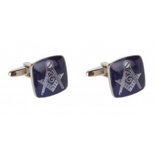 Masonic cufflinks blue squares with symbol and G