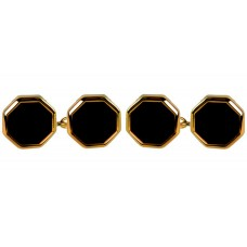 Two-sided octagonal onyx cufflinks with chain