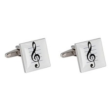 Cufflinks: G clef on white pentagram