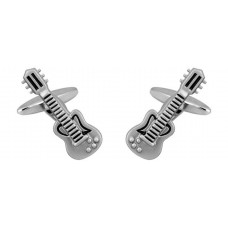 Cufflinks: Rhodium plated electric guitar