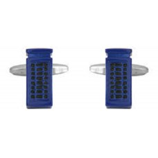 Cufflinks with blue English telephone box