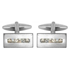 Satin cufflinks with crystals in a row