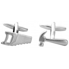 Cufflinks saw and hammer, for joiner or carpenter