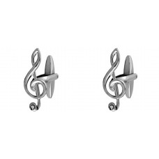 Cufflinks: G or treble clef with crystals