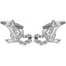 Anchor-shaped cufflinks with movable chain