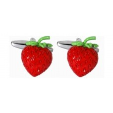 Cufflinks with strawberry, red strawberries