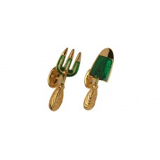 Cufflinks with small gardening tools