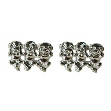 "Steel cufflinks with little monkeys ""I do not see, I do not hear, I do not speak"""