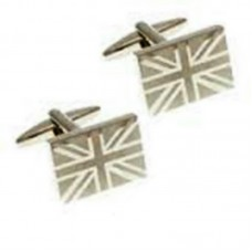 Cufflinks with UK Flag, Great Britain shiny and satin