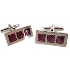 Cufflinks with 3 purple enamel sectors