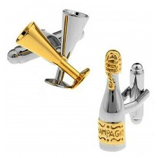 Cufflinks with flutes and champagne, for parties