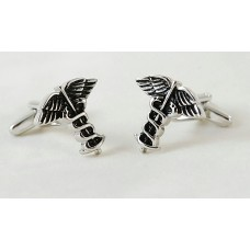 Cufflinks with caduceus. For doctor or pharmacist