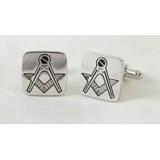 Masonic cufflinks with box, squares, rhodium-plated