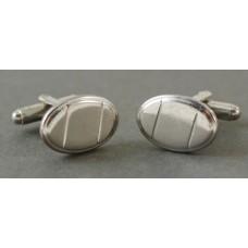 Vintage cufflinks, 50s, German, ovals, diagonal lines